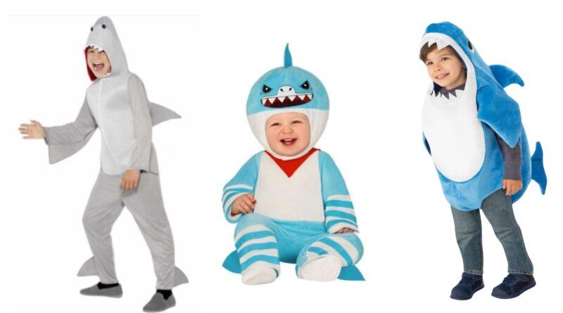 haj kostume børnekostume haj babykostume, haj kostume til baby, haj kostume til børn, haj udklædning til børn, haj fastelavnskostume til børn