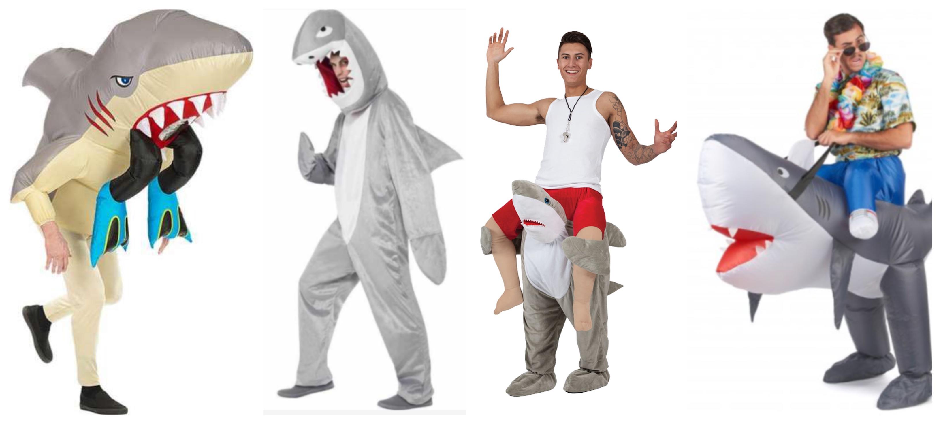 haj kostume til voksne, haj udklædning til voksne, haj voksenkostumer, oppusteligt haj kostume til voksne, dyrekostumer til voksne, haj fastelavnskostume til voksne