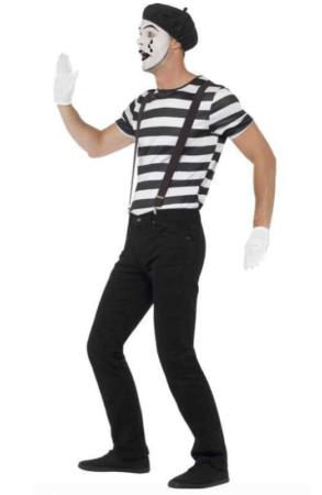 mimer kostume til voksne mimer udklædning til voksne sort hvid kostume