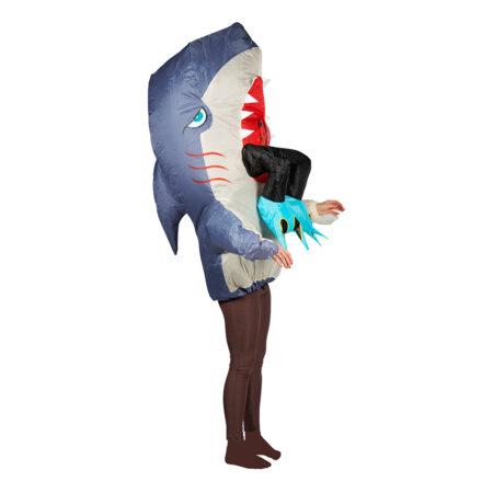 oppustelig haj kostume med dykker