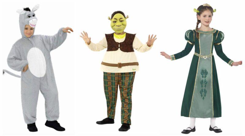 shrek kostume til børn, shrek udklædning til børn, shrek børnekostumer, shrek kostumer, prinsesse fiona kostume, æsel kostume til børn, fastelavnskostume til drenge, fastelavnskostume til piger