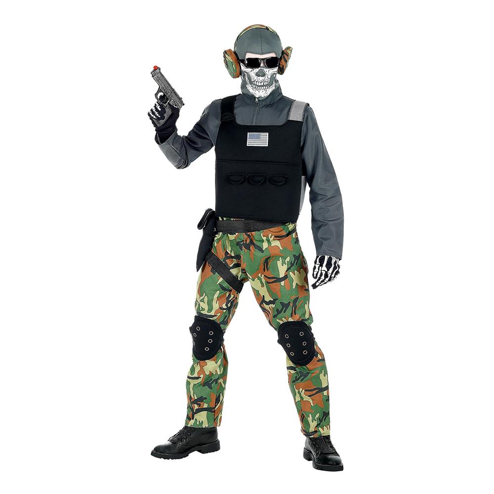 Skelet soldat kostume - Soldat kostume til voksne