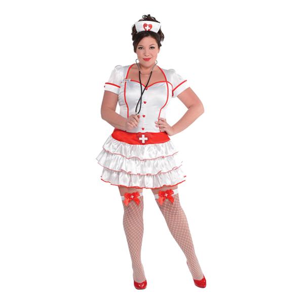 Sygeplejerske plus size kostume - Sygeplejeske kostume til voksne