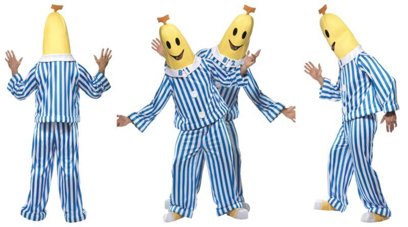 bananer i pyjamas kostume til voksne, bananer i pyjamas udklædning, bananer i pyjamas voksenkostumer, bananer i pyjamas fastelavnskostume til voksne, sjove parkostumer til voksne, stribede kostumer