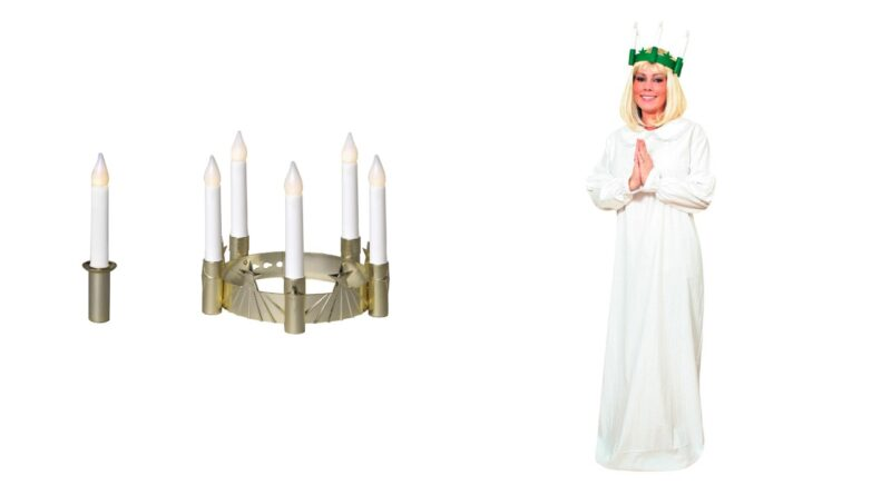 lucia kjole til voksne lucia tøj til kvinder luciadragt til mænd lucia kostume luciakrone LED