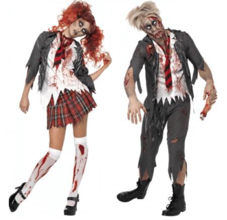 genfærd parkostume spøgelseskostume par halloween voksne