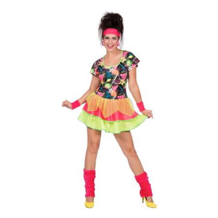 80'er tøj 80'er fest kostume neon farvet kjole