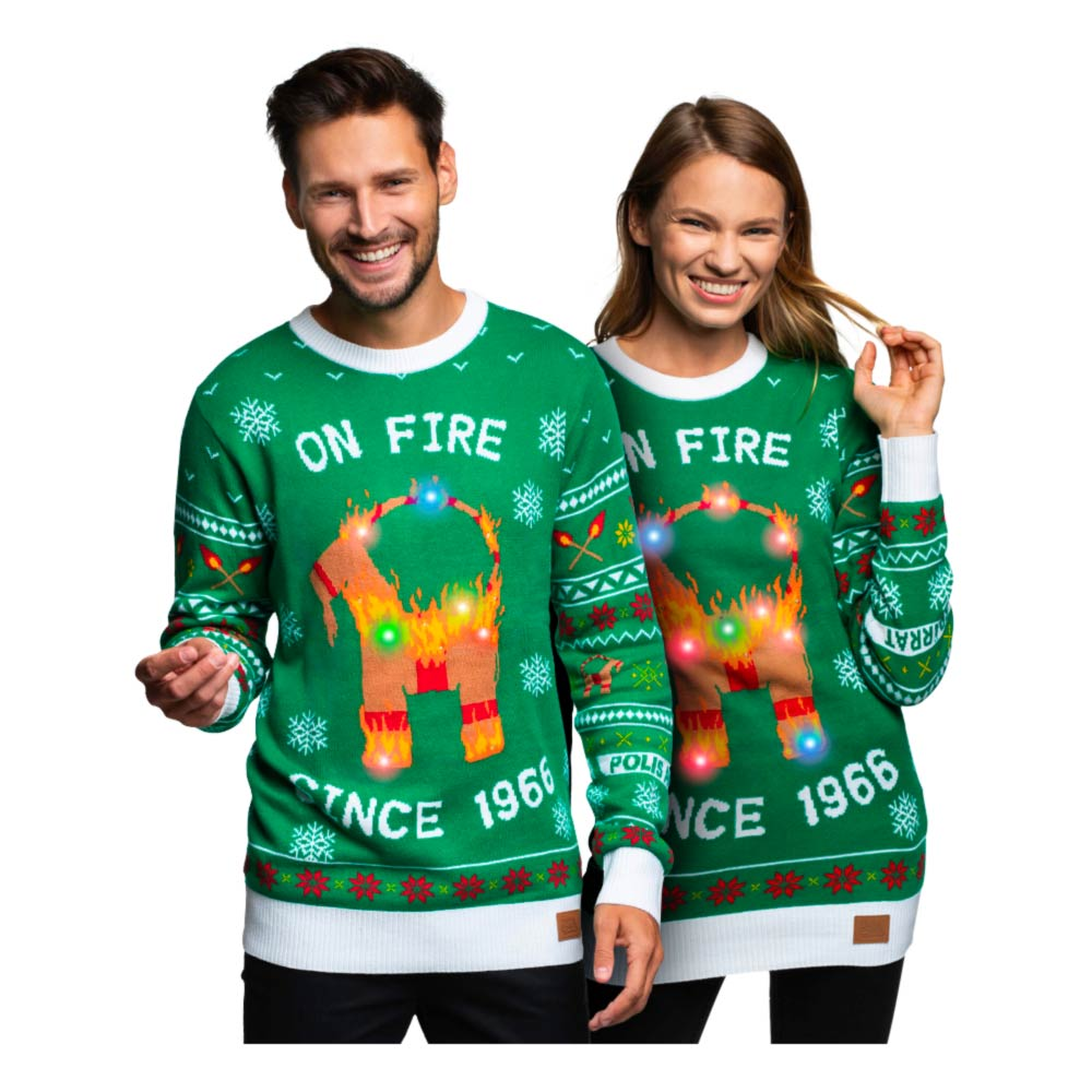 On fire since 1966 julesweater unisex - Unisex julesweater med LED lys