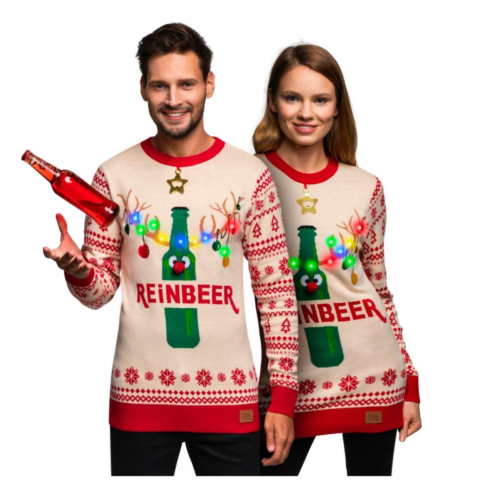Reinbeer julesweater - Unisex julesweater med LED lys