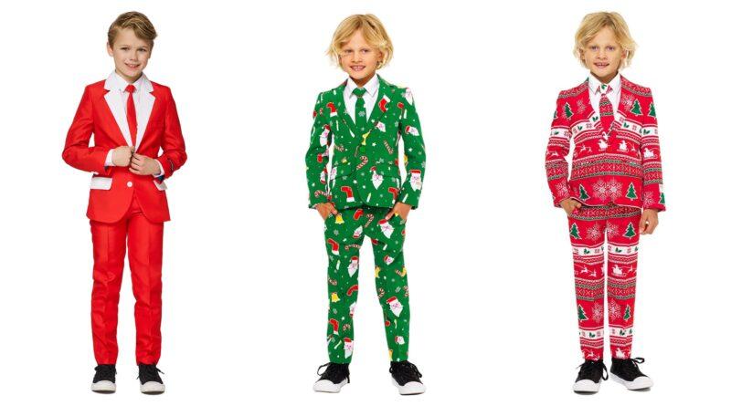 jule jakkesæt til børn, jule jakkesæt til drenge, opposuits jakkesæt til børn, jakkesæt med julemotiver, rødt jakkesæt til børn, grønt jakkesæt til børn, julekostumer til børn, børnetøj juleaften 2019, jakkesæt til børn juleaften, børn julekostumer