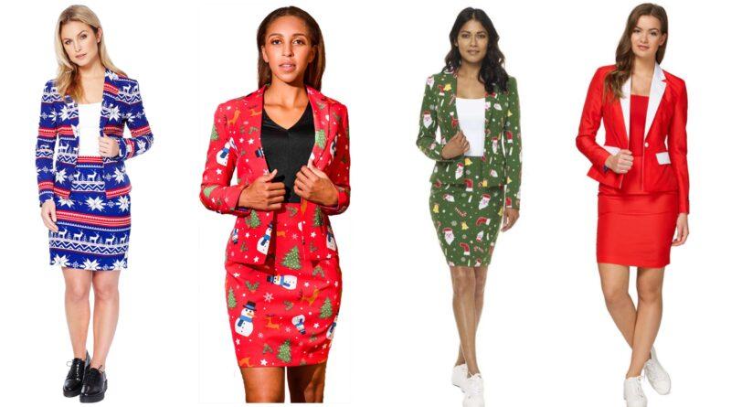 jule jakkesæt til kvinder, jule kjoler til kvinder, jule kostumer til kvinder, feminine jakkesæt til jul, julekostumer til kvinder, jakkesæt med julemotiv, feminint jakkesæt med julemotiv, opposuits jule jakkesæt