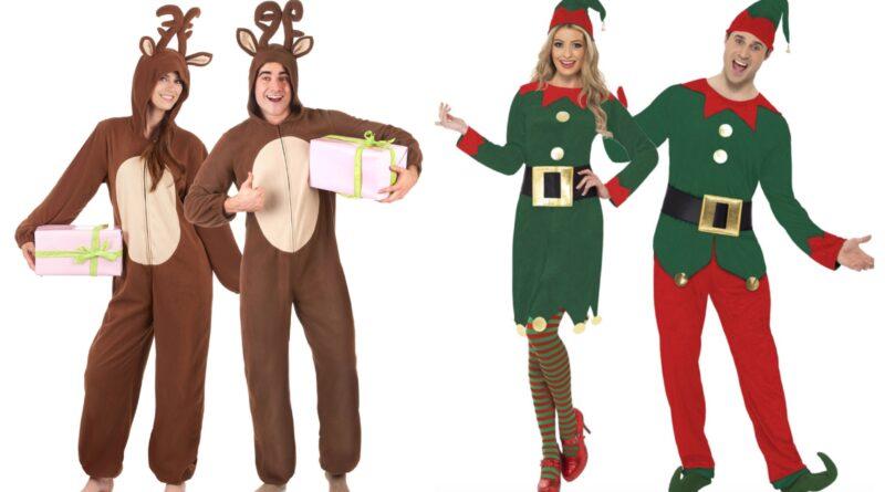 julekostumer til par, parkostumer til jul, sjove julekostumer til voksne, rensdyr kostume til voksne, nisse kostume til voksne, julemand kostume til voksne, jule mankini, gruppe kostumer til jule, billige julekostumer