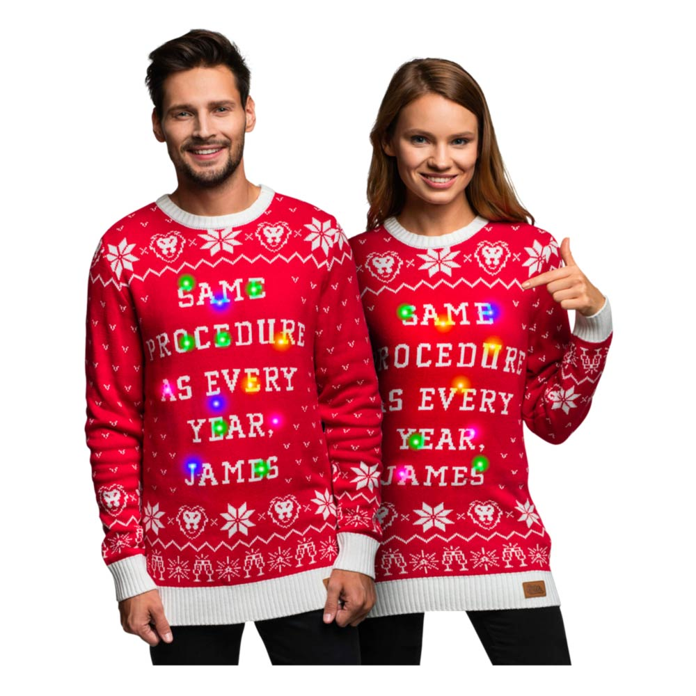 same procedure as every year juletrøje med led lys - Unisex julesweater med LED lys