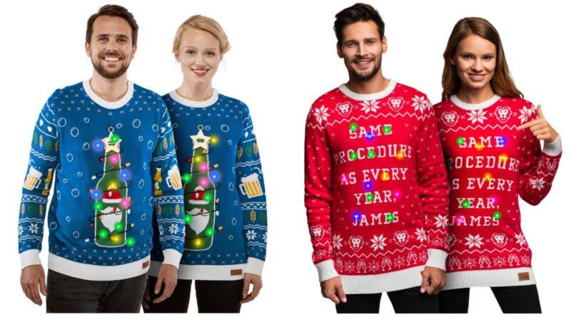 unisex julesweater med led lys, unisex juletrøje med led lys, unisex juletrøjer, unisex julesweater, julesweater til mand, julesweater til kvinder, juletøj til mænd, juletøj til kvinder, røde juletrøjer, blå juletrøjer, grønne juletrøjer