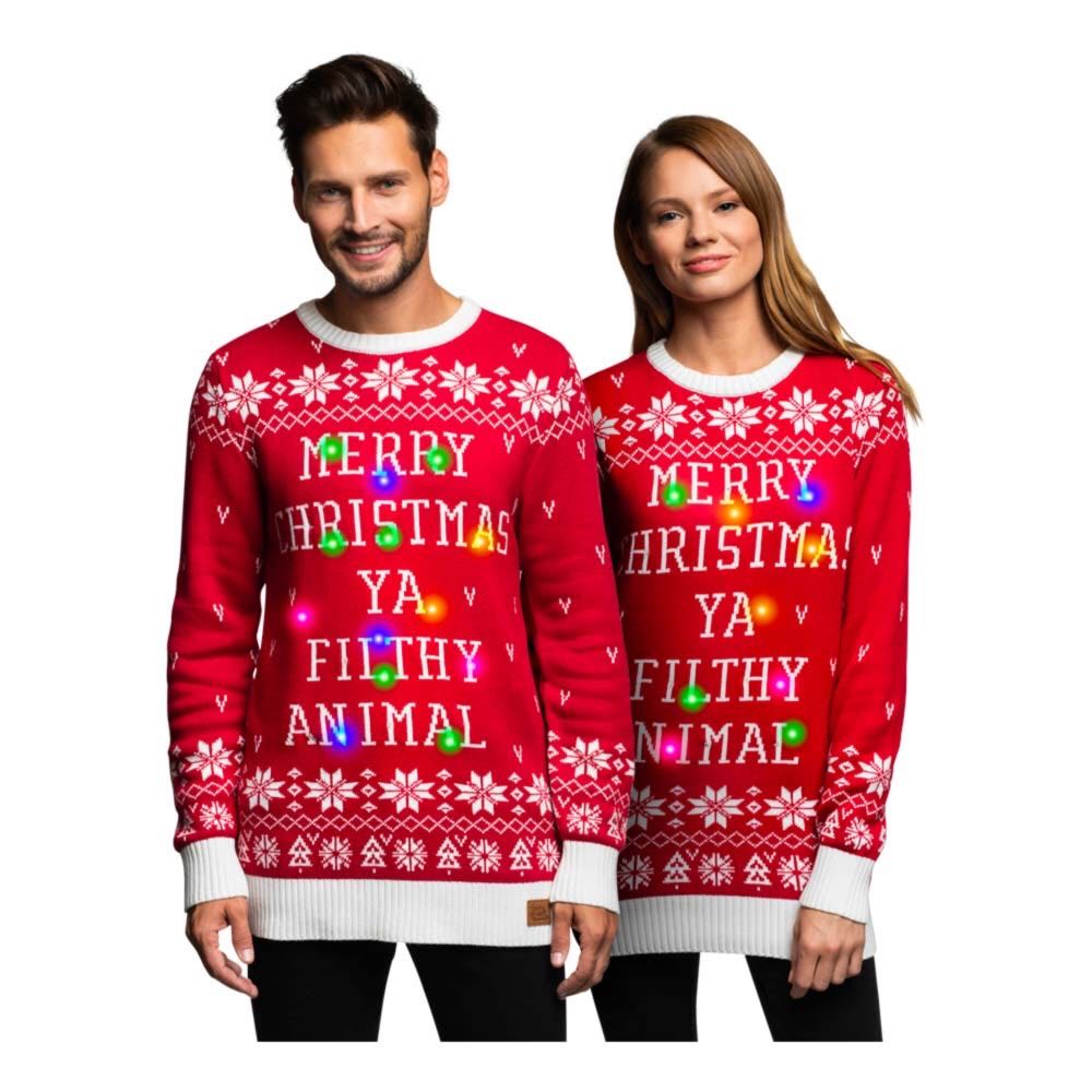unisex juletrøje - Unisex julesweater med LED lys