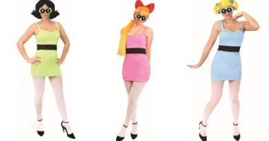 powerpuff pigerne kostume til voksne, powerpuff pigerne udklædning til voksne, powerpuff voksenkostumer, powerpuff pigerne kostumer, tegneseriefigurer kostumer til voksne