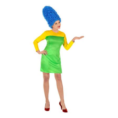 the simpsons kostume marge simpson udklædning til kvinder kostume med blåt hår