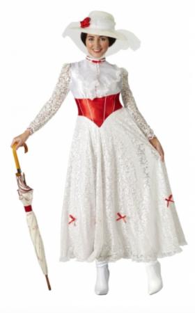 mary poppins kostume hvid kjole 280x450 - Mary Poppins kostume til voksne