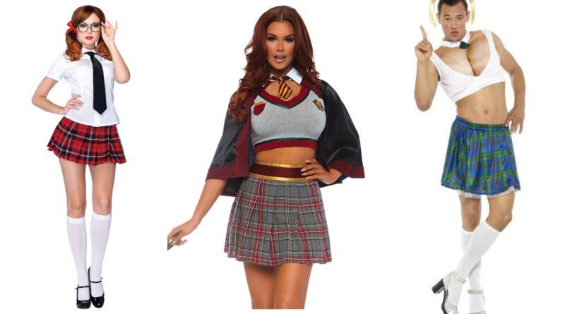 skolepige kostume til voksne, skolepige udklædning til voksne, skolepige voksenkostume, skolepige kostumer, kostume til sidste skoledag, frækt skolepige kostume