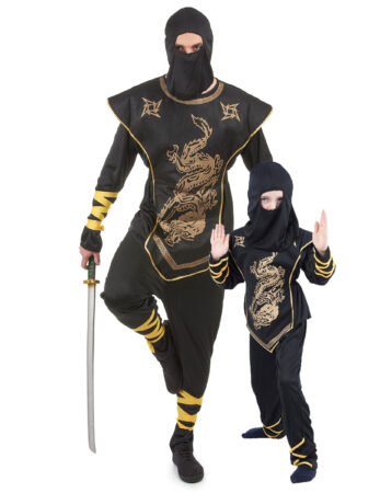 ninja matchende udklædning til far og søn matchende ninja kostume til voksen og barn sort ninja udklædning forældre og barn ninja forklædning
