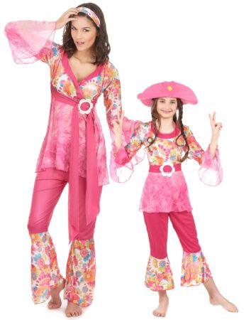 hippie kostume til pige hippie par kostume til mor og barn hippie kostume til forældre og barn hippiemor kostume pink par kostume 60er kostume til mor og datter