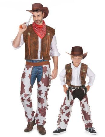 cowboy udklædning far og søn udklædning matchende kostume til forældre og barn
