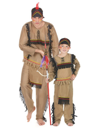 indianer kostume til far og søn indianer familie udklædning forældre og barn udklædning