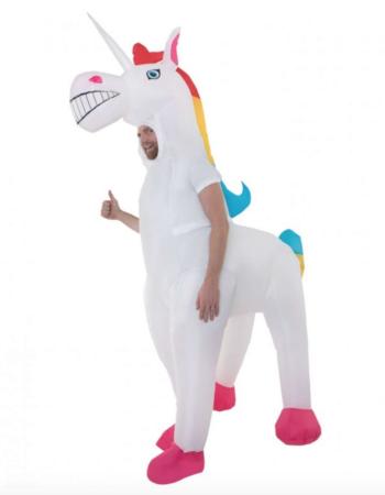 Oppustelig unicorn kostume 1 350x450 - Oppustelige kostumer til voksne