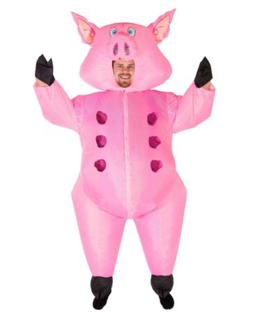 oppustelig gris kostume 383x450 - Gris kostume til voksne