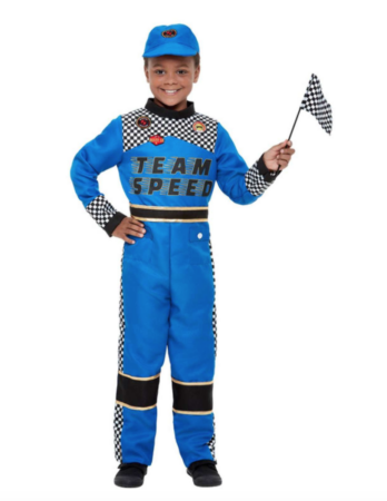 racer børnekostume 348x450 - Racerkører kostume til børn og baby