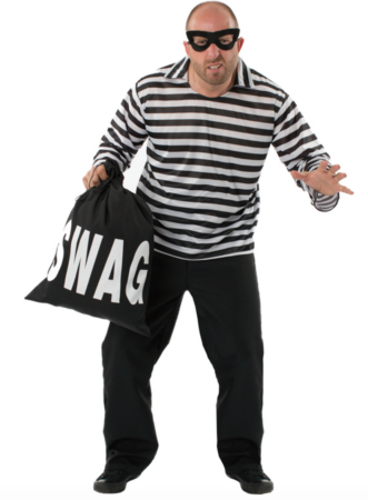 stribet røver kostume 331x450 - Tyveknægt kostume til voksne