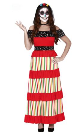 Dia de los Muertos kostume  281x450 - Mexicaner kostume til voksne