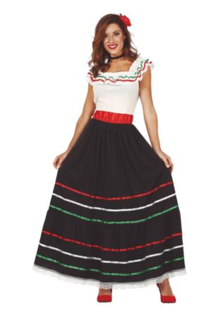 Lang mexicansk kjole 316x450 - Mexicaner kostume til voksne