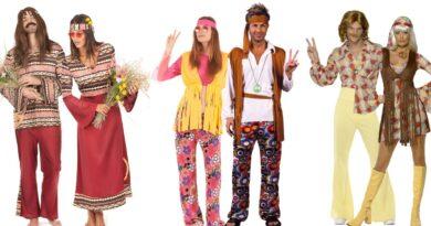 hippie par kostume til voksne 1960erne kostume temafest 1960erene udklædning tøj til 1960erne temafest hippie udklædning til voksne 390x205 - Hippie par kostume til voksne