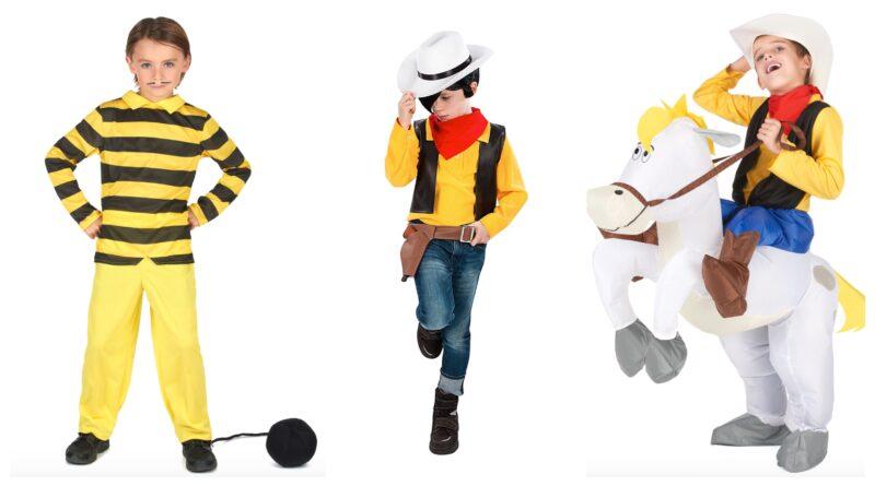 lucky luke kostume til børn, lucky luke udklædning til børn, lucky luke børnekostume, lucky luke cowboy kostume til børn, dalton brødrene børnekostume, lucky luke fastelavnskostume til bør