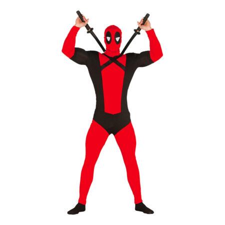 antihelt kostum rødt antihelt deadpool kostume til voksne