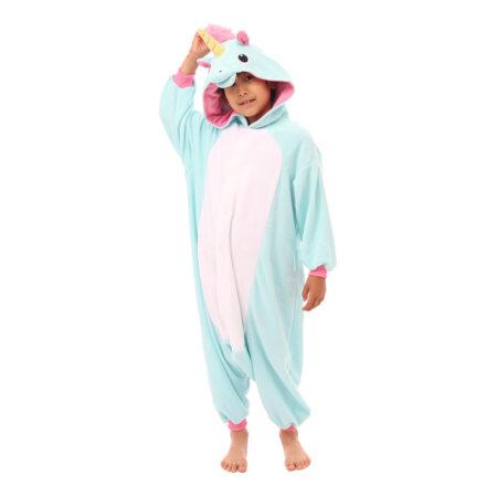 blå enhjørning børnekigurumi 450x450 - Kigurumi til børn - sjov heldragt til børn
