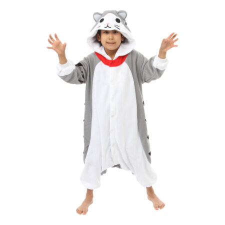 grå kat børnekigurumi 450x450 - Kigurumi til børn - sjov heldragt til børn