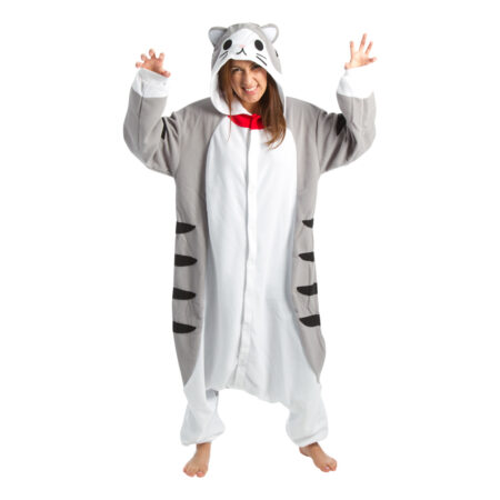 grå kat kigurumi til voksne 450x450 - Katte kostume til voksne