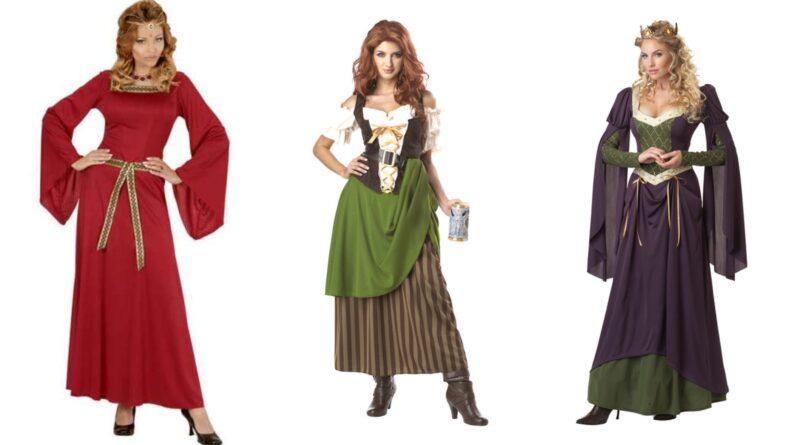 middelalder kostume til kvinder, middelalder voksenkostume, middelalder kostume til voksne, middelalder udklædning til voksne, middelalder kostumer
