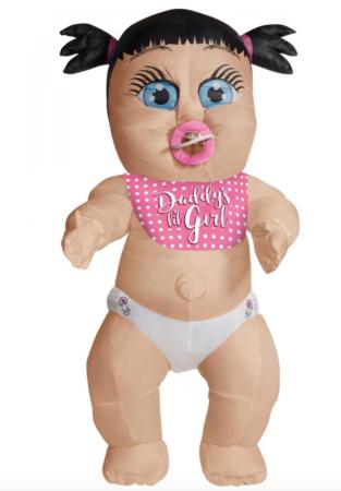 Oppustelig baby pige kostume 313x450 - Baby kostume til voksne