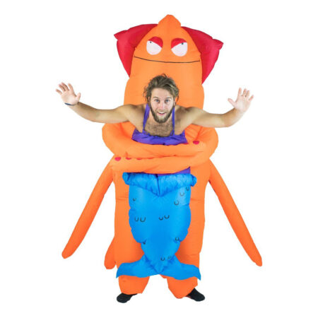 Oppustelig orange blæksprutte kostume 450x450 - Orange kostumer til voksne