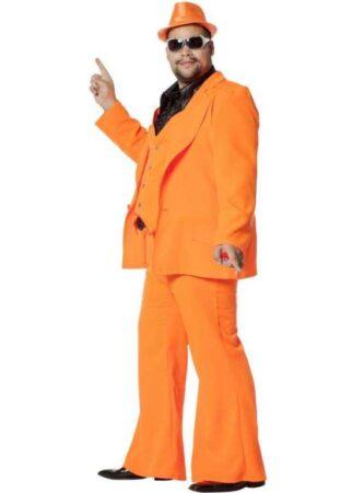 Orange disko jakkesæt 322x450 - Orange kostumer til voksne