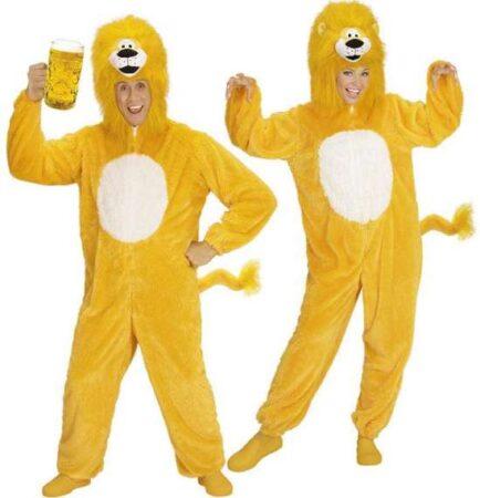 Plysset gul løve kostume til voksne 434x450 - Gule kostumer til voksne