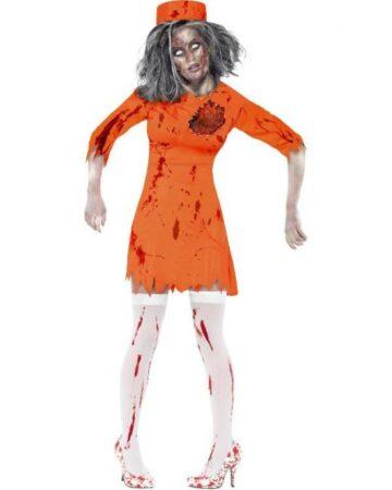 zombie fangekostume orange kostume 360x450 - Orange kostumer til voksne