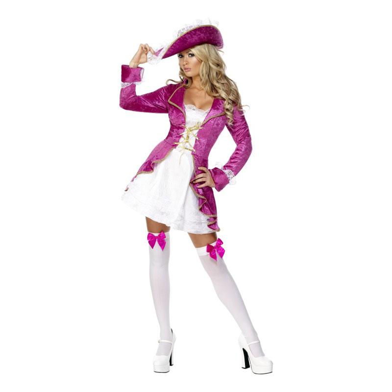 Lyserødt sørøverpige kostume - Lyserøde/pink kostumer til voksne