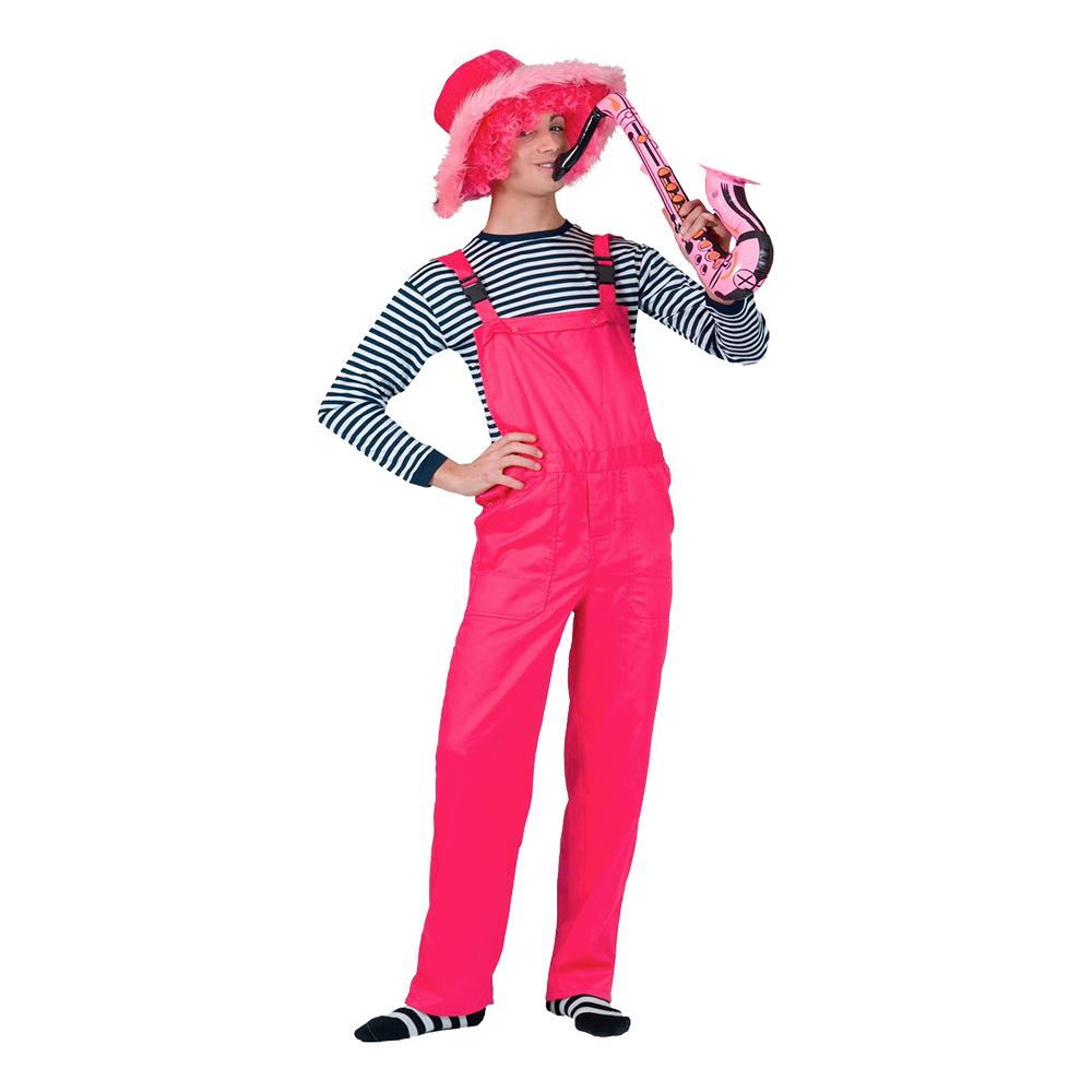 Pink overalls kostume - Lyserøde/pink kostumer til voksne