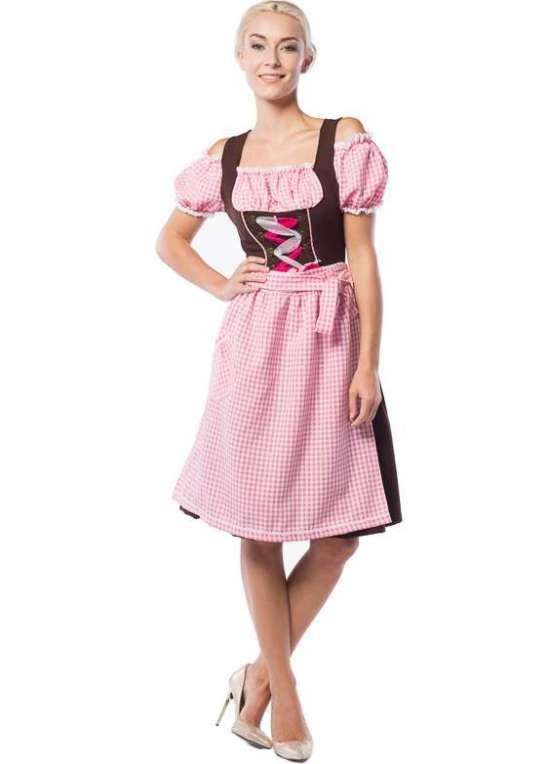 Pink tyrolerkjole oktoberfest kostume til kvinder - Lyserøde/pink kostumer til voksne