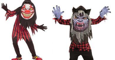 Kæmpehoved kostume til børn, stort hoved halloween kostume, kæmpehoved børnekostumer, uhyggelige kostumer til børn