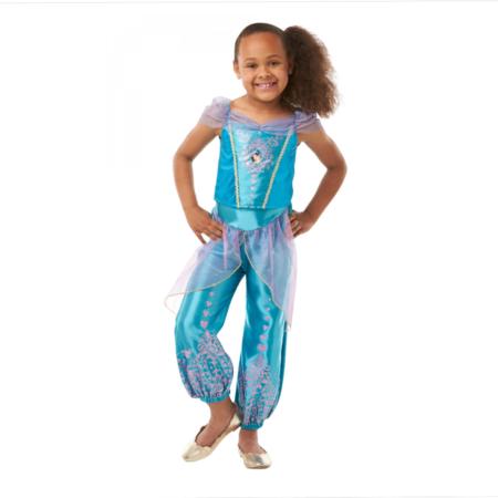 jasmin børnekostume blåt kostume piger aladdin disney udklædning til piger